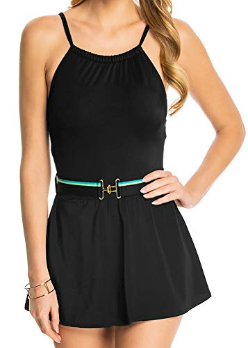 - Tommy Hilfiger One Piece Swim Dress High Neck Belted Skirted Swimsuit Maillot Black 8