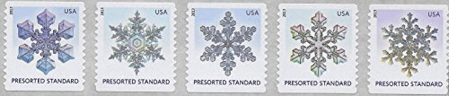 - 2013 Presorted Snowflakes Strip Of 5 Standard Coil US Postage Stamp Set MNH Scott #4808- 4812