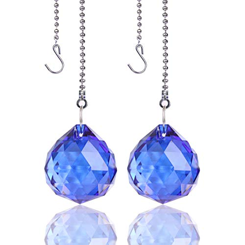 H&D 30mm Crystal Ball Prism 2Pcs Crystal Ceiling Fan Pull Chains,Dark Blue