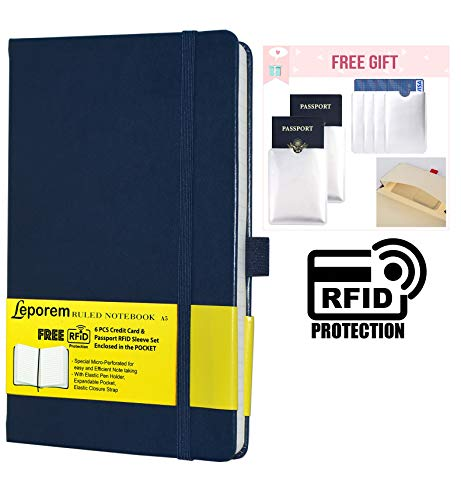 Notebook Journal Ruled Hardcover Note + Free 6 RFID Blocking Sleeve - Writing Lined Journal with Pen Loop, Pocket, Band, Ribbon & Premium Thick Paper - A5 (5x8) Bound Classic College Notebook (Blue)