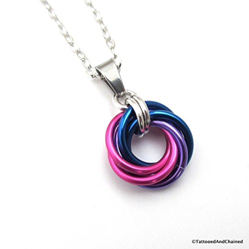 Unisex Chainmail - Bi pride pendant, chainmail love knot, bisexual pride jewelry