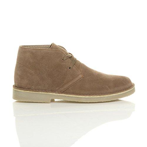 Ajvani Hommes plat cuir daim desert travail cheville bottes chaussures pointure Taupe Chameau fZSXI5H