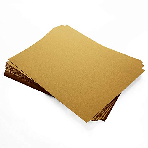 Stardream Antique Gold Metallic Cardstock - 8 1/2 x 11, 105lb Cover, 250 Pack by LCI Paper