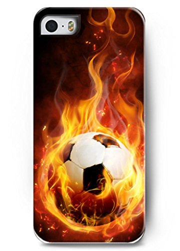 Hard Case for Iphone 5 5S with the Design of Silver Texture Soccer Ball