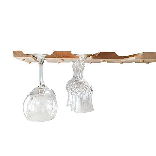 under cabinet wine glass rack wood hanging holder for stemware storage under c ebay. Black Bedroom Furniture Sets. Home Design Ideas