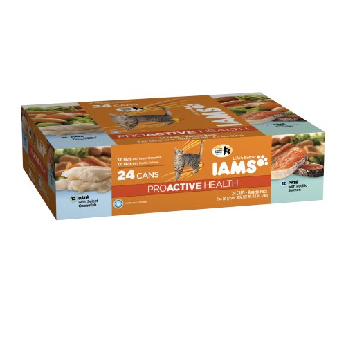 Iams Proactive Health Adult Variety Pack With Select Oceanfish / Pacific Salmon 4.5 Lbs, 24 cans, My Pet Supplies
