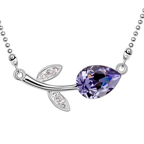 Delicate Necklace Swarovski Element Austrian Crystal Lovely Rose Flower Necklace