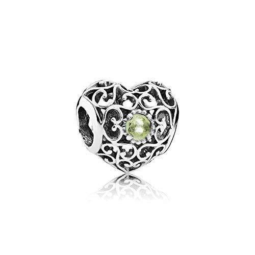 Pandora Women's 791784pe August Signature Heart Peridot Charm, Silver