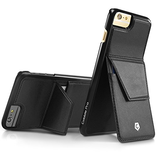 Iphone 6S Plus Case  Cobble Pro  Handcrafted  Leather Case With Magnetic Card Holder Stand   Fap Cover For Apple Iphone 6 Plus   6S Plus  5 5    Black
