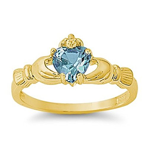 THE ICE EMPIRE 9MM 2ctw 18k-Gold Plated .925 Sterling Silver December Blue Topaz Zircon Birthstone Irish Royal Heart Claddagh Ring 4-10