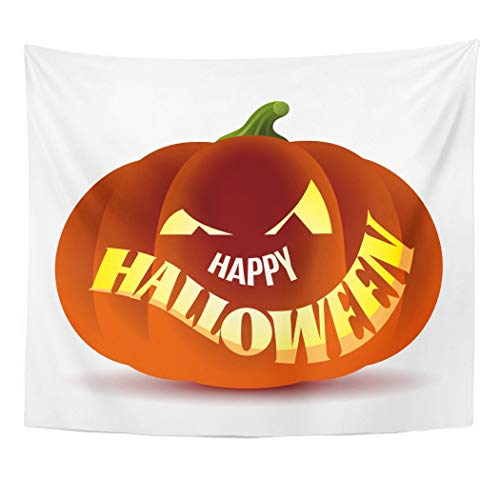 Emvency Wall Tapestry Orange Abstract Happy Halloween with Pumpkin Autumn Candle Cartoon Carving Celebration Creative Cute Decor Wall Hanging Picnic Bedsheet Blanket 60x50 Inches