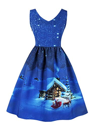 Seazoon Womens Dresses Halloween Costume Vintage Sexy V Neck Prom Dresses for Women Sleeveless SE20 1589 Deep Blue L -