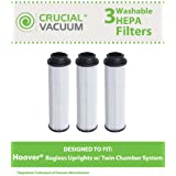 3 Washable & Reusable HEPA Filter for Hoover Windtunnel, Empower, Savvy Vacuums; Compare to Hoover Part No. 40140201, 43611042, 42611049, Type 201; Designed & Engineered by Crucial Vacuum