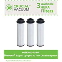 3 Replacements for Hoover Windtunnel Bagless HEPA Style Filter Fits Empower & Savvy, Compatible With Part # 40140201, 43611042 & 42611049, Washable & Reusable, by Think Crucial