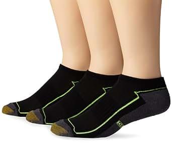 Gold Toe Men's 3-Pack Aquafx No Show Liner Sock, Black/Yellow, 10-13