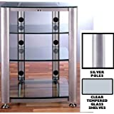 VTI HGR404 4 Shelf Glass Audio Cabinet/Rack - Silver / Clear