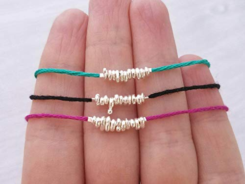 Simple stacking bracelet with tiny freeform sterling silver beads and adjustable sliding clasp, pick your own color