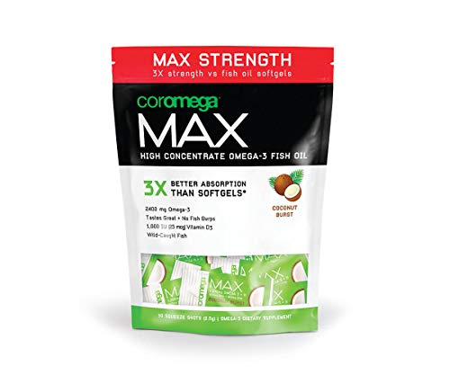 Coromega MAX High Concentrate Omega 3 Fish Oil Supplement with Vitamin D, 2400mg of Omega-3s with 3X Better Absorption Than Softgels, Anti Inflammatory, Coconut Bliss Flavor, 30 Single Serve - Heartland Salmon