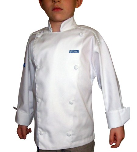 [Chefskin Long Sleeve Jacket + White Apron+ White Hat Baby Toddler Kid Children Chef Set Lite Fabric] (Chef Costumes For Kids)