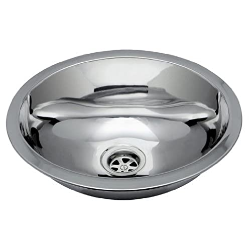 Ambassador Marine Oval Stainless Steel Round Bottom Brushed Finish Sink  With Welded Mounting Studs For Top Mount, 13 1/4 Inch Long X 10 1/2 Inch  Wide X 5 ...