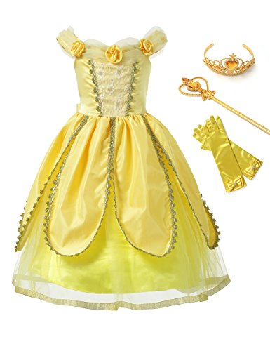 aibeiboutique Princess Belle Costume Fancy Party Dresses Gorgeous Dress up for Little Girls Cosplay, Yellow (11-12 -
