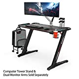 Eureka Ergonomic Z1-S Gaming Desk – Gaming Computer Desk, Gaming Table PC Gaming Desk with LED Lights, Carbon Fiber, Cup Holder and Headphone Hook – Black