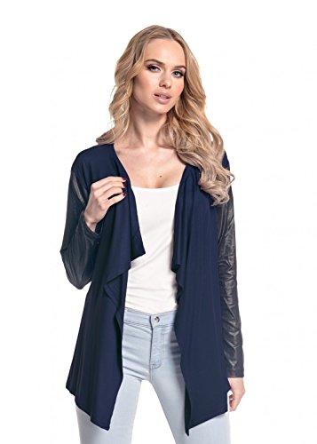 Glamour Empire para mujer Abrigo chaqueta cascada manga de cuero sintético. 098 Armada