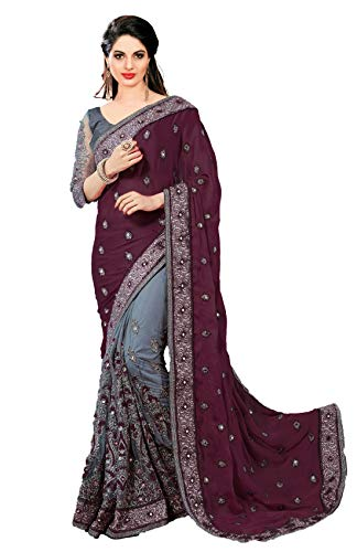 Nivah Fashion women's Satin & Net Half N Half Embroidery work Sari With Blouse piece K608 (Free, Purple)