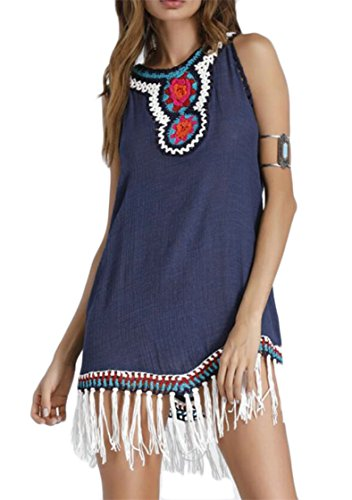 Donne V Stile 1 Crochet Orlo Abito Etnico Nappa collo Jaycargogo pwAvndCxqp