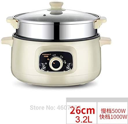ELYQDDD 220V Multifunzione Elettrico Fornello Riscaldamento Elettrico Pan Cucina Pot Macchina Hotpot Noodles Uova Zuppa Vapore Mini Rice Cooker Smart 22cm US