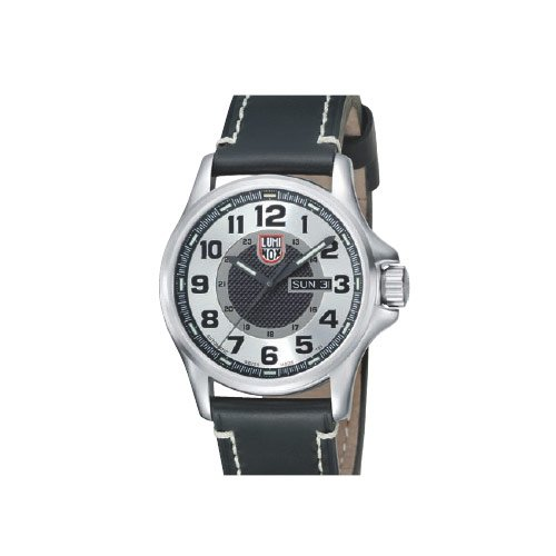 Luminox-Silver-and-Black-Dial-Leather-Automatic-Mens-Watch-SU1809
