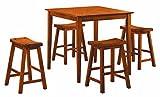 Homelegance 5 Piece Saddleback Dinette Set, Oak-Sand-Thru Finish For Sale
