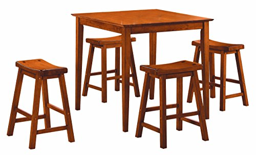 Homelegance 5 Piece Saddleback Dinette Set, Oak-sand-thru finish (Pub Antique Stool Cherry)
