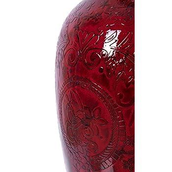 Uniquewise QI003388L Designer Red Ceramic Large Trumpet Floor Vase-36 Inch