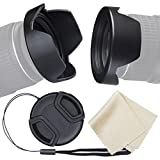waka 67mm Camera Lens Hood Set, Reversible Tulip Flower Lens Hood + Center Pinch Lens Cap with Cap Keeper Leash + Microfiber Lens Cleaning Cloth for Nikon, Canon, Sony & Other DSLR Cameras