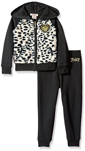 juicy-couture-little-girls-toddler-2-piece-fleece-hooded-jacket-with-faux-fur-and-pant-set-black-2t