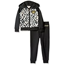 Juicy Couture girls Fleece Hooded Jacket With Faux Fur and Pant Set