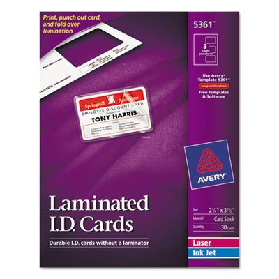 Laminated Laser/Inkjet ID Cards, 2 x 3 1/4, White, 30/Box, Total 150 EA, Sold as 1 Carton