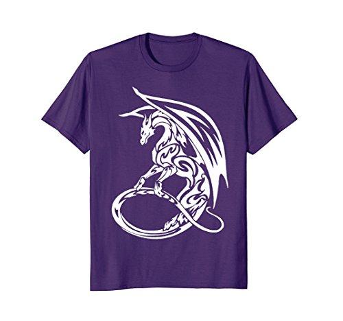 Mens Standing Tribal Dragon T-Shirt XL Purple