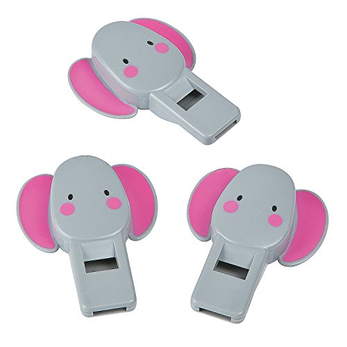 Elephant Flat Plastic Whistles - 12 pieces (Oriental Favor Party)