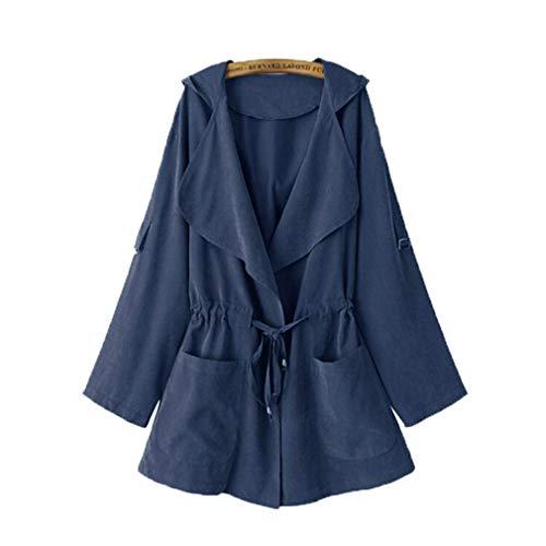 Coat In Kimono Cappotto Yying Blu Jack Donna Giacca Elastico Lunga Vita Tasca Autunno Femminile Manica Cappuccio Casual Con Allentato Outwear 6x4Ex