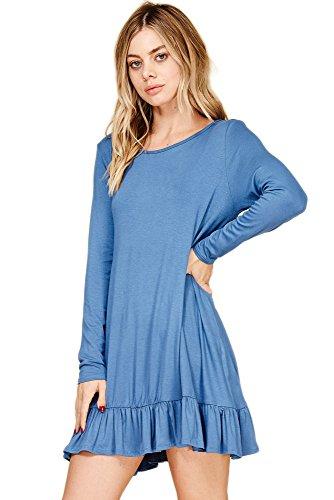 Annabelle Women's Flirty Ruffle Hem Long Sleeve Mini Dress Denim Large (Ruffle Hem Denim)