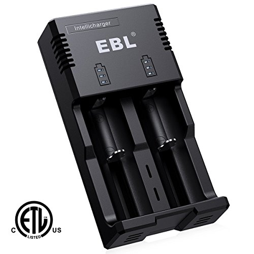 EBL Battery Charger for 18650 18500 14500 Li-ion AA/AAA & C Size Ni-MH Ni-Cd Rechargeable Battery with iQuick Technology