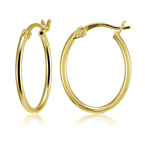 Yellow Gold Flashed Sterling Silver High Polished Dainty Small Oval 20mm Hoop Earrings Oval Loop Earrings