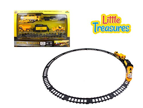 Coal Truck Dump (Little Treasures Construction Train Engineering Toy Play Set Includes A Locomotive Steam Engine A Coal Cart and A Flat Bed Train with A Tractor and A Dump Truck with A Full Set of Tracks)