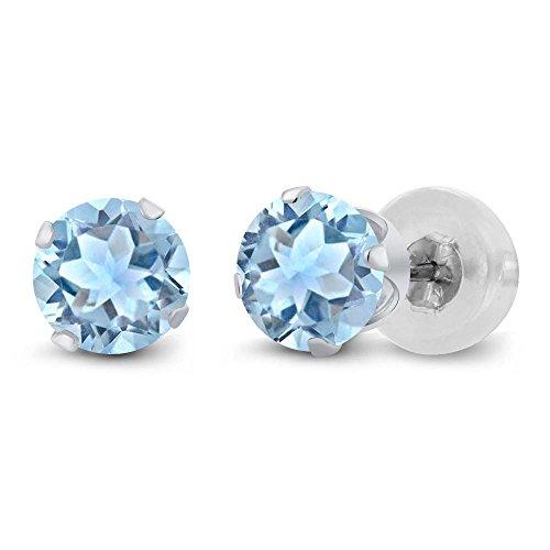 14K White Gold Genuine Sky Blue Aquamarine Women's Stud Earrings (0.80 cttw, 5MM Round)