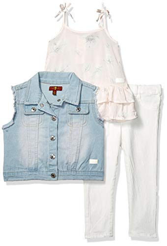 (7 For All Mankind Kids Girls' Toddler Vest, Fashion Tank Top, and Denim Jean Set, Pearl Bloom Print/Medium Wash, 2T)