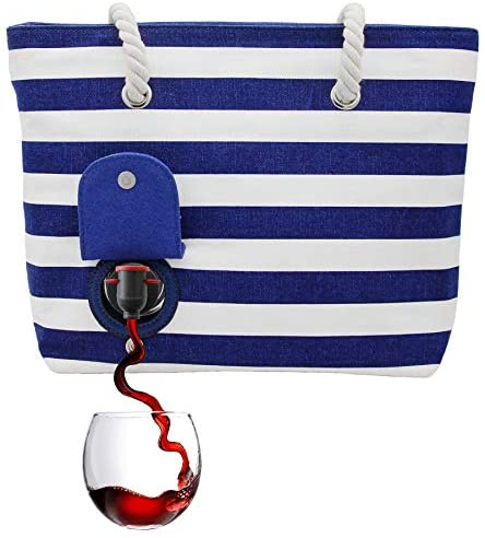 PortoVino Beach Tote Blue White product image