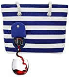 PortoVino Beach Wine Tote (Blue/White) - Beach Bag with Hidden, Insulated Compartment, Holds 2 bottles of Wine!