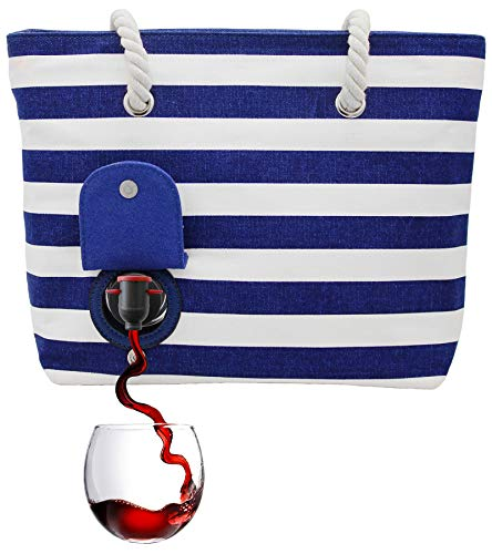 PortoVino Beach Tote (Blue) - Wine Purse that holds 2 bottles of wine in Hidden, Insulated Compartment using Removable Pouch!